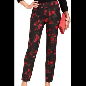Talbots Heritage Black Pants with Red Flowers 2